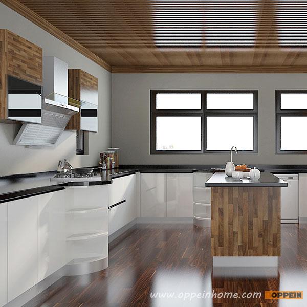 Kitchen Hpl: OP15-A07:Modern White High Gloss Acrylic And HPL
