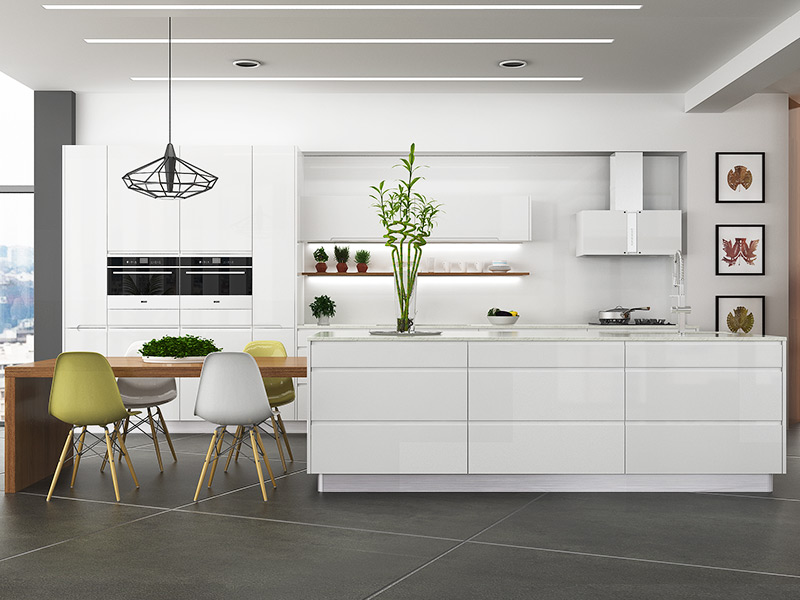 Oppein Simple European Style Of White Kitchen Cabinet