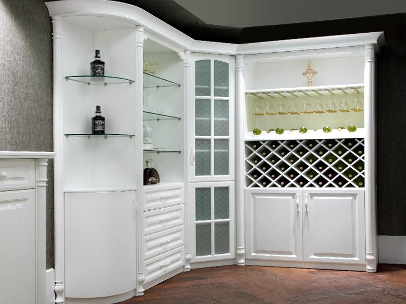 OPPEIN JG16 02 White Poly Wine Cabinet