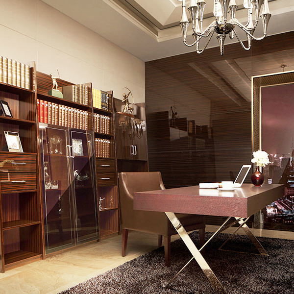 Wooden Study Room: SG11317 Wood Veneer Study Room With Bookcase And