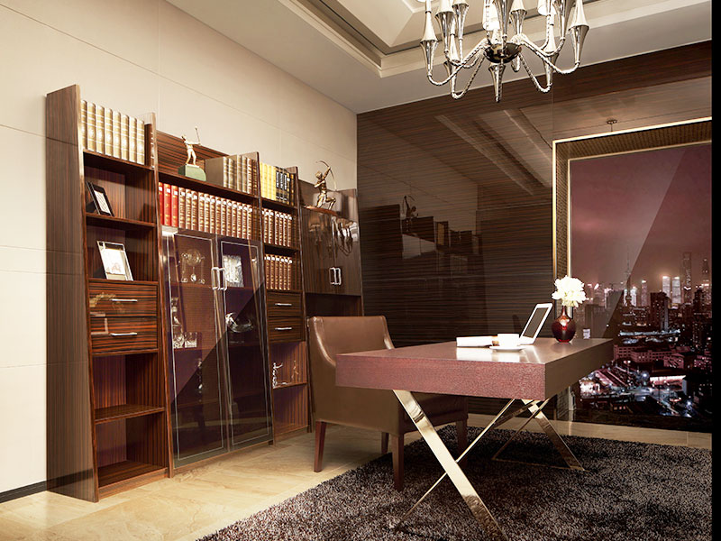 Oppein sg11317 wood veneer study room with bookcase and for Home ideas centre christchurch