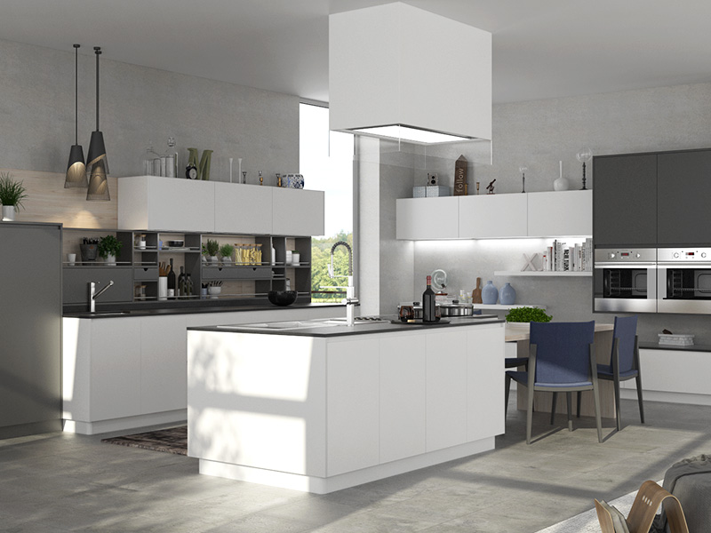 Oppein White And Gray Matte Lacquer Kitchen Cabinet Op16 L18