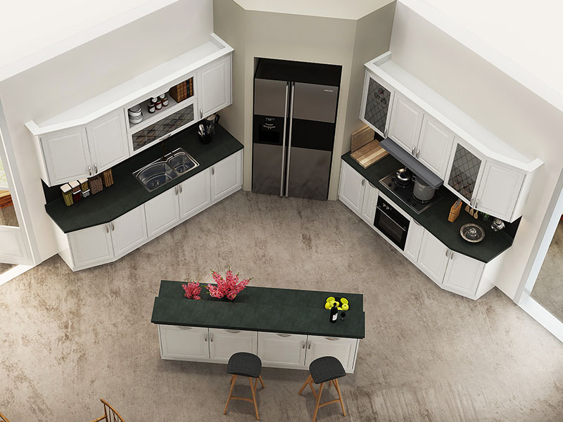 A modern triangular kitchen cabinet