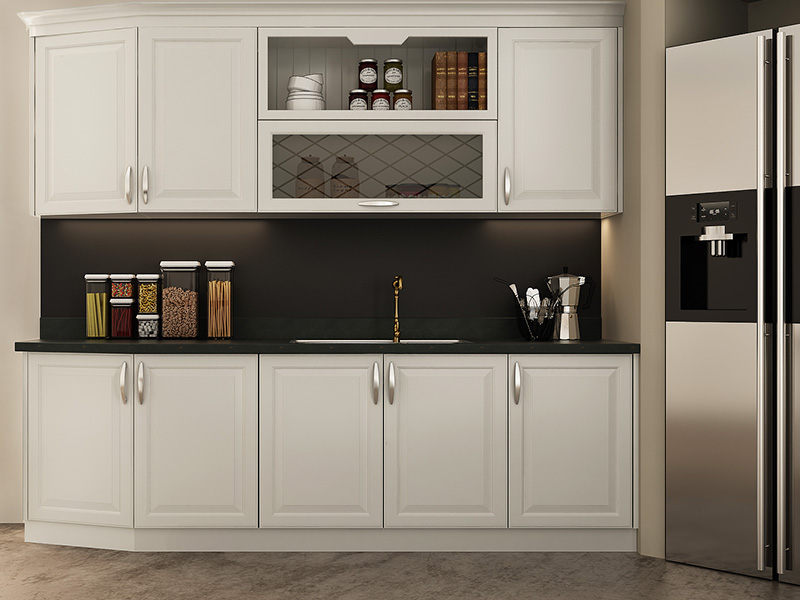 Oppein Simple European Style Of White Kitchen Cabinet Op16 Pvc07