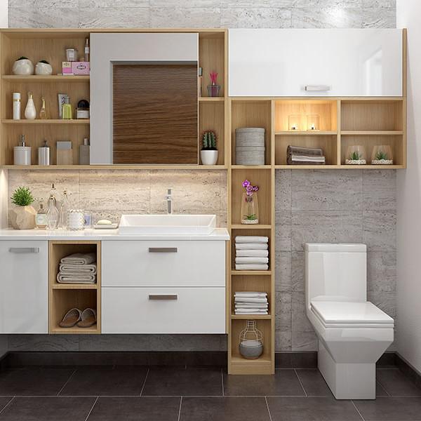 Bathroom Vanities Christchurch: White And Wood Grain Mirrored Bathroom Vanity