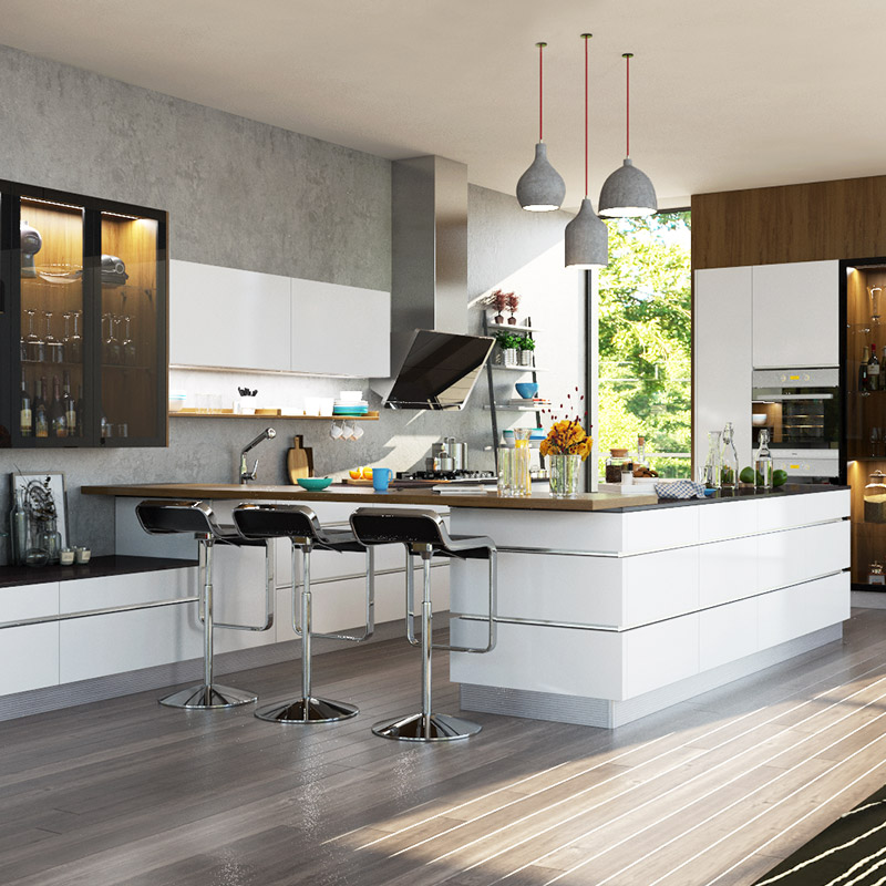 Oppein Modern High Gloss White Lacquer Kitchen Cabinet