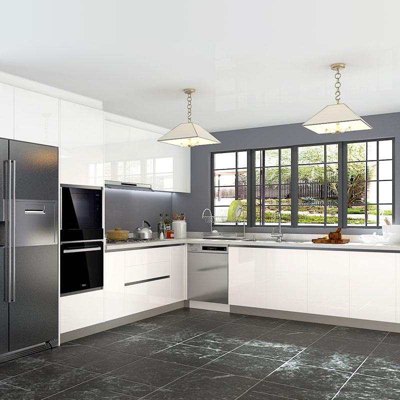 No Cabinet Kitchen Ideas: L-Shaped White Laminate Kitchen Cabinet OP18