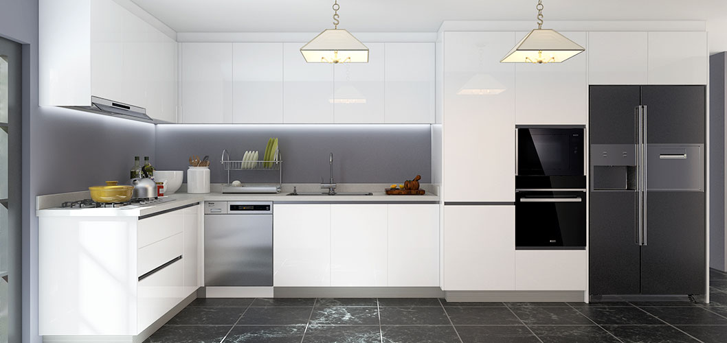 L-Shaped White Laminate Kitchen Cabinet OP18