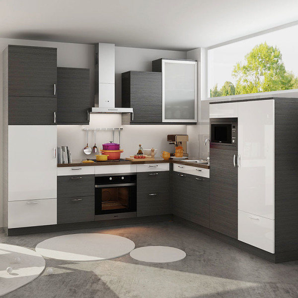 White Kitchen L Shape: L-Shaped White And Dark Grey Kitchen Cabinet OP18