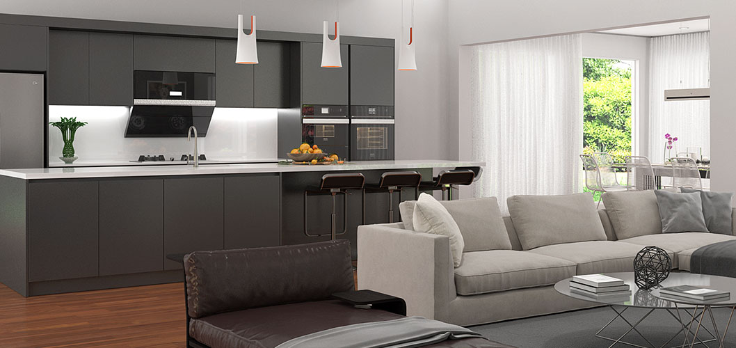 Black Lacquer Kitchen Cabinet With Large Island