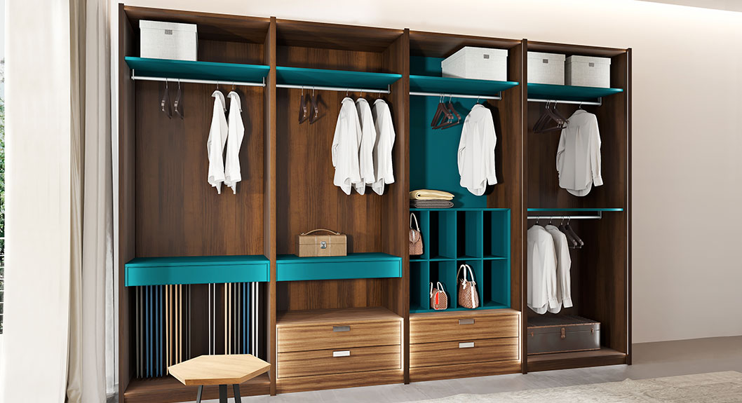 Oppein Dark Wood Grain Galley Walk In Closet Plyj17004