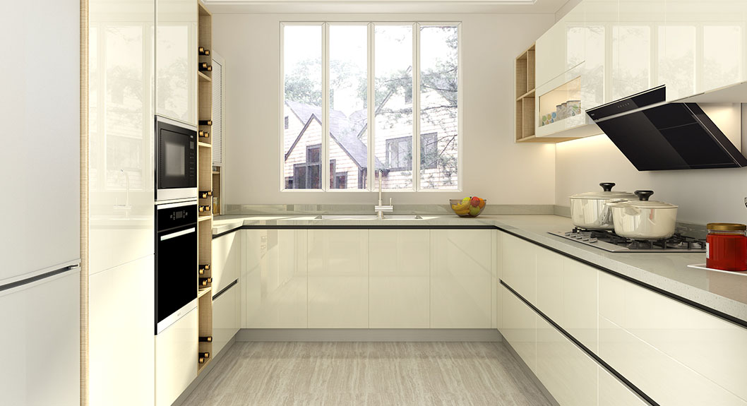 Small U Shaped White Lacquer Kitchen OP18 L01 (