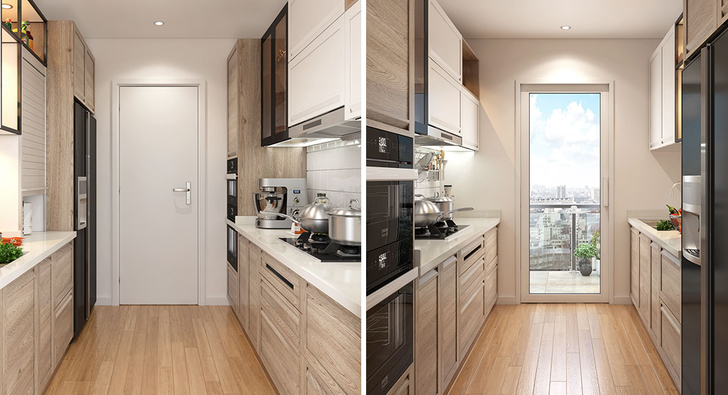 Oppein Transitional Style Small Galley Kitchen Op18 Pp01