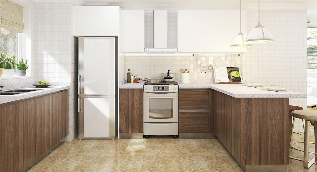 Oppein U Shaped White Amp Wood Grain Laminate Kitchen Op18