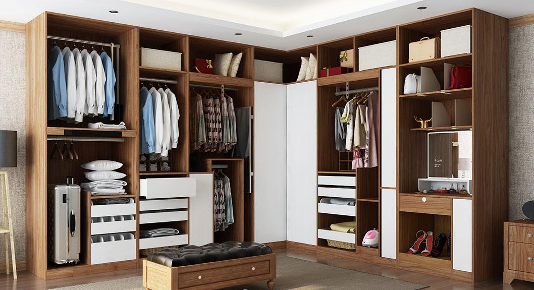 Oppein White And Wood Grain Corner Walk In Closet