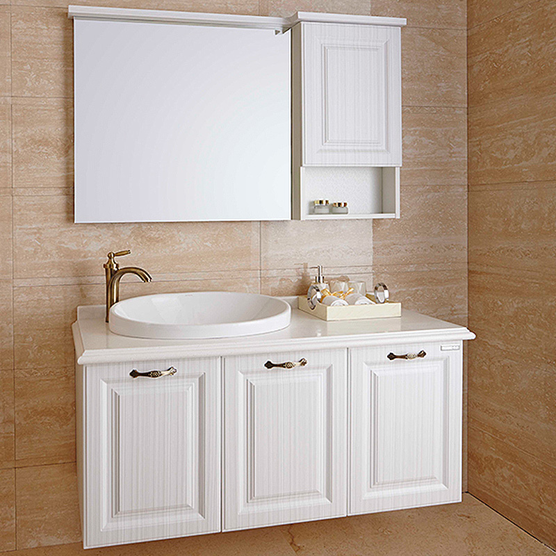 Traditional White PVC Bathroom Cabinet OP14-004