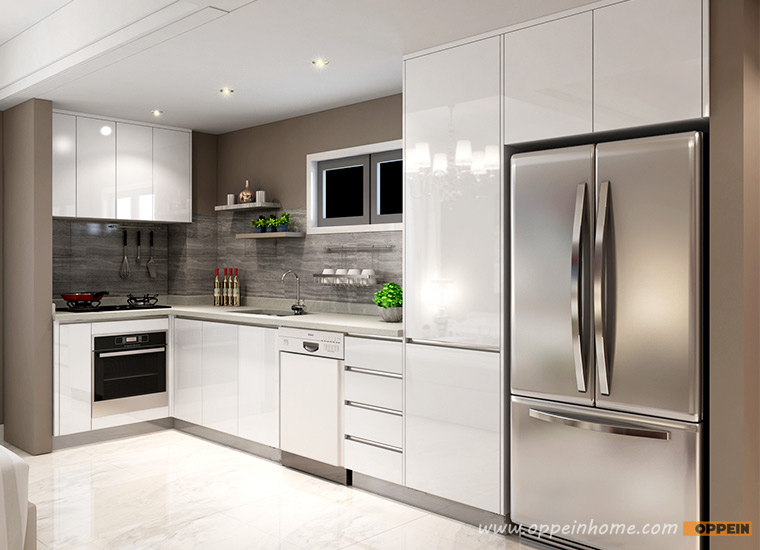 Modern Wood Grain Melamine And Lacquer Kitchen