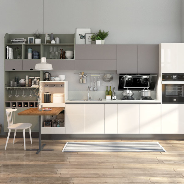 Kitchen Cabinet Lines: Beige And Gray Lacquer Straight Line Kitchen