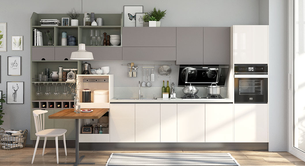 Oppein Beige And Gray Lacquer Straight Line Kitchen