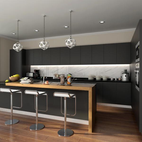 Modern L Shaped Kitchen Designs With Island: Modern Stylish Black Matte Lacquer Kitchen