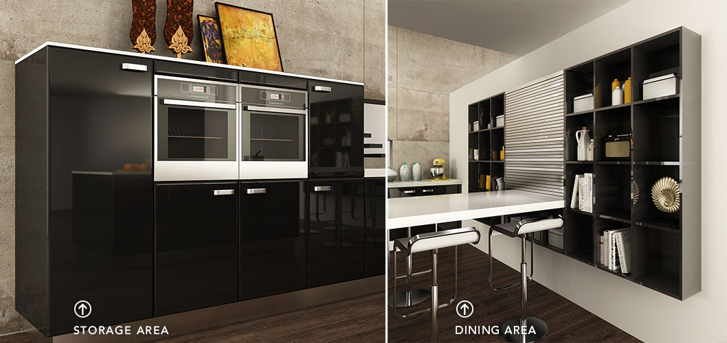 Oppein Contemporary Black Lacquer Kitchen Cabinet Op15