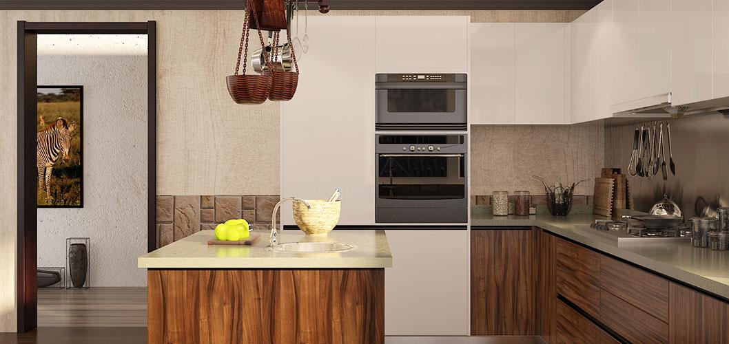 Oppein Modern Dark Wood Grain U Shape Kitchen Cabinet Op16 Pvc06