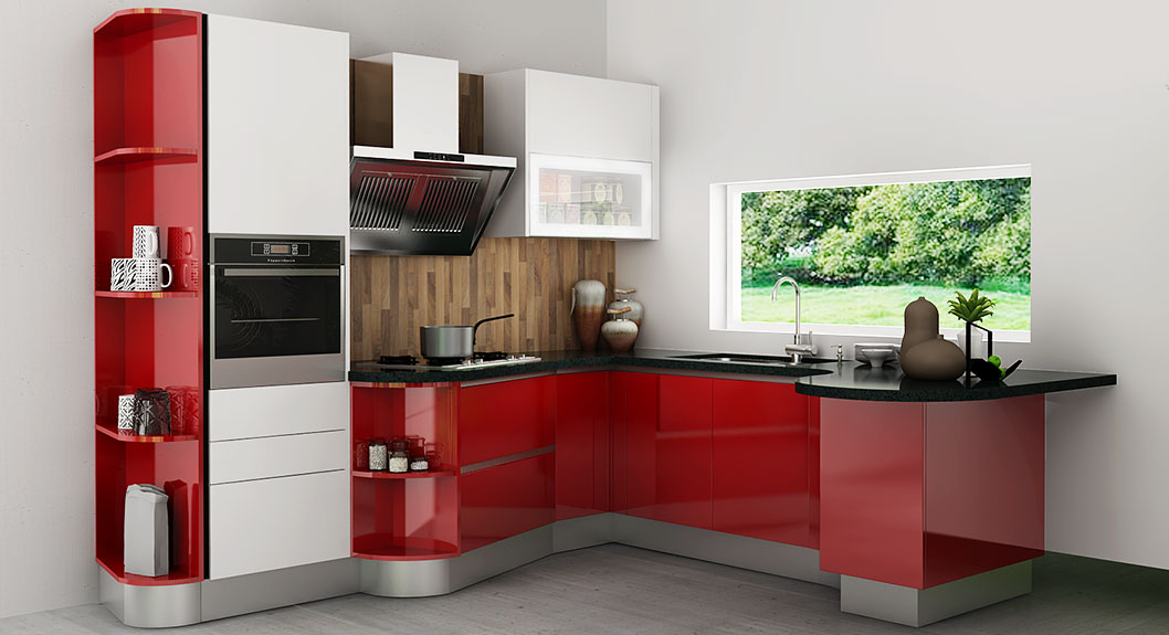 Oppein Modern High Gloss Kitchen Cabinet In Red Lacquer