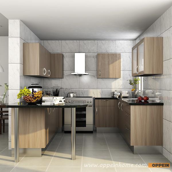 Contemporary U-Shaped Wood Grain Melamine Kitchen